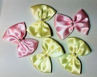 E-108 Satin Pink and Yellow Bows
