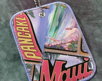 Luggage Tag from Recycled Maui Pancake Co. Bag Labels