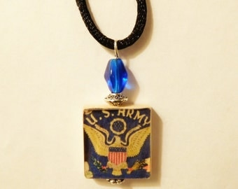 ARMY Pendant / U.S. Military Gift / Scrabble Necklace with Cord / Beaded / Charm / Jewelry