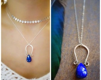 Lapis Lazuli necklace, gemstone solitaire necklace, Artisan, metalwork, Otis B jewelry Etsy, sterling silver, royal blue, minerals
