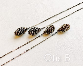 Real pine cone necklace, lariat necklace, oxidized sterling silver, y necklace, two pine cone necklace, winter fashion, holiday necklace