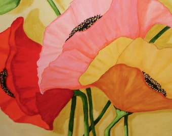 THREE POPPIES Painting - 18x24 inch deep edge canvas - Original Floral Art - Poppy Painting - Flower Art