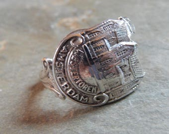 Sterling Silver Spoon Ring, Westertoren, Westerkerk, Amsterdam, Netherlands, Dutch Protestant Church, Cathedral, church steeple, spire