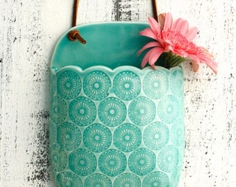 hanging aqua flower vase
