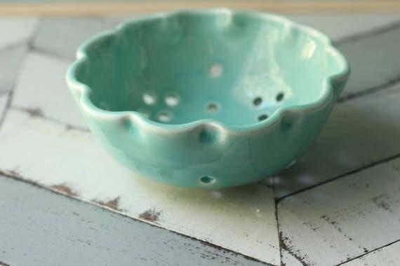 small aqua flower berry bowl, porcelain