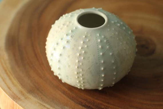 pale blue urchin bud vase