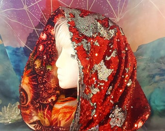 Flip sequin two color Red Dragon COWL Hood / Infinity Scarf / festival hood