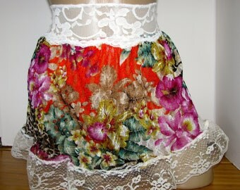 Pretty Sheer Pastel Floral Sheer Slip / Skirt  4 your Sissy Panties Sizes XS S M L XL