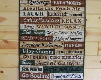 Wall Hanging Quilt Cabin Rules Printed Words Door Banner Wall Decor Handmade Quilted Wall Art