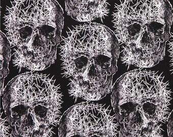 192680 black Michael Miller skull needle Halloween fabric Freak Out