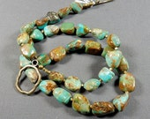 """Valentines Sale 50% Necklace - 26"""" Nevada Turquoise Nuggets /Resort Cruise / Southwestern Casual / Urban Tribal / Boho Chic (turq n201)"""