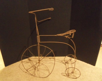 Vintage Hand Made Large Wire Bike Bicycle  Tricycle Wire Art