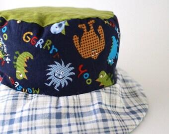 Boys bucket hat, uv sun hat, beach wear, Hawaiian tiki print, monsters and plaid