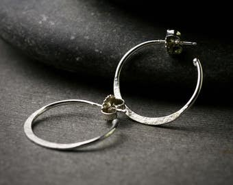 Sterling silver half hammered hoop earrings with post and back