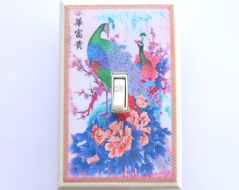 Fantasy colors Peacock Switchplates & MATCHING SCREWS- Peacock wall decoration peacock switch plates peacock wallpaper peacock switch covers