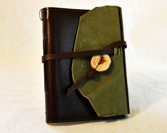 SUMMER SALE:  Sage Green and Brown Leather Journal with Lined Paper - Medium