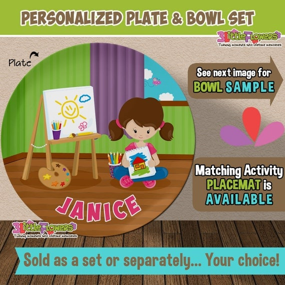 artist plate and bowl set personalized plastic children plate and