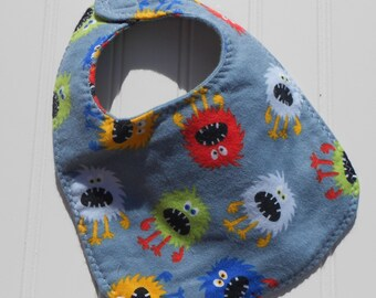 READY TO SHIP 100% cotton flannel baby bib - colorful monster print