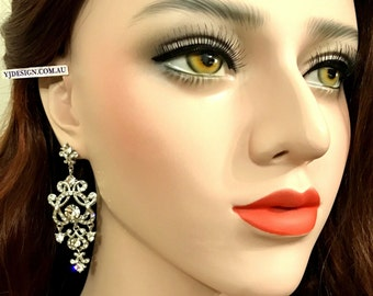 Chandelier Bridal Earrings, Statement Wedding Earrings, Long Earrings, Swarovski Crystal Bridal Jewelry, Victorian Wedding Jewelry, YOHANNA