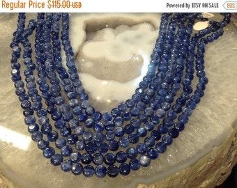 50% Mega Sale 7mm Blue Kyanite Coin Round Gemstone Beads