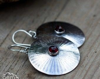 Bohemian Garnet and Sterling silver rustic dangle earrings - Winter Sun -