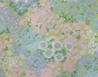 Vintage Full Flat Pastel Sheet, Vintage Bed Sheet, Retro Bed Sheet, Vintage Bedding, Pastel Flowers, Muslin Sheet