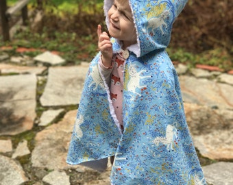 Hooded Toddler Cape -Round- in Blue Unicorn
