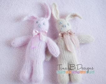 Angora snuggle bunny in pink or sand with sari silk bow