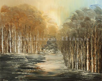 Neutral toned giclee print on CANVAS of original landscape painting BIOSPHERES textured stretched birch trees forest water autumn by Iliina