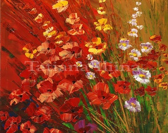 Vibrant floral bouquet giclee print on Canvas of original flower painting BRIGHTNESS meadows red ORANGE yellow - by Iliina