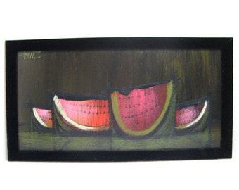 Watermelon Serigraph Print, Abstract Dark Still Life W/ Velvet Frame, Mid Century Signed Art
