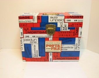 Vintage Porta File by Ballonoff Monthly Bills Metal File Box Tote Cabinet Taxes Bills Storage Red White Blue