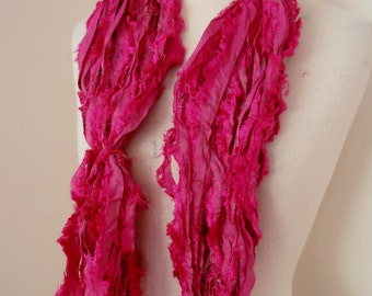 100 grams 1 skein recycled silk   ribbon  knitting crochet craft embellishment yarn hot pink