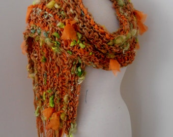 Scarf  Hand Spun Hand Knit Scarf orange amber lime yellow merino wool mix silk gotland