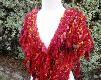 sale Collar Scarf  Hand Spun Hand Knit reds gold yellow  colors ultrafine merino and recycled silk mix