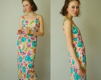 sale 25% off Bias Floral Maxi Vintage 90s Cabbage Rose Bias Cut Draped Bohemian Summer Maxi Dress (s)