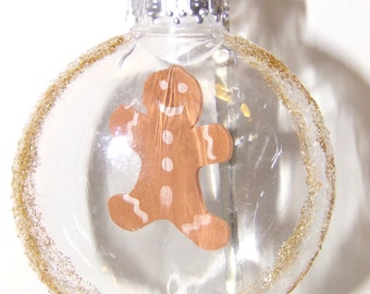 Gingerbread Man Clear Christmas Ornament