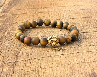 Men's Lion Head Bracelet Antique Gold tiger tigers eye brown rugged rustic ruggedbeauwares animal