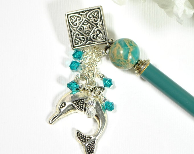 "Dolphin Hair Stick Charm Hairstick Beach Hair Pin Blue Hair Stick Charm Hair Pin Beach Hair Beads - ""Muse"""