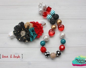 chunky necklace or baby headband set { Love & Lush } black, gold, red, pearl, aqua stripe valentine headband, 1st Birthday, photography prop