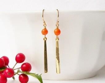 Vintage Orange Dangle Earrings, Eco-Friendly Earrings by Perini