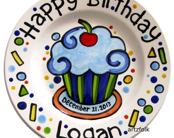 "KILN FIRED Happy Birthday cherry cupcake personalized name Plate custom ceramic 7"" or 10"""
