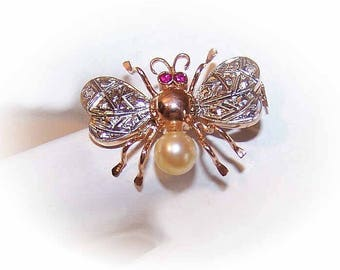 FRENCH 18K Gold/Rose Gold/Rose Cut Diamond/Ruby/Cultured Pearl/Insect Pin/Fly Pin/BroochRose Gold Pin: Diamond Pin/French Gold Pin