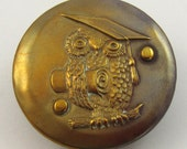 Wise Owl antique button