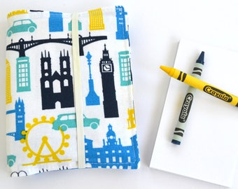 Travel Crayon Wallet, 8 Crayons and Notepad Included, Birthday Party Favor, Kids Wedding Favor, Crayon Holder, Birthday Gift for Boys