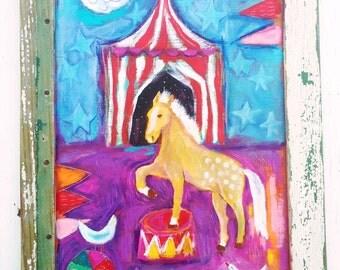 Framed Circus Pony Folk Art Painting