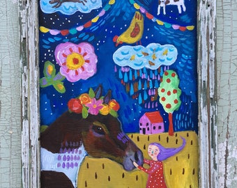 Folk Art Painting in a Handmade Rustic Frame