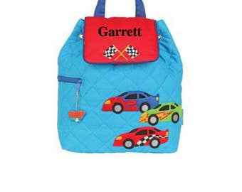 Personalized Stephen Joseph Backpack for Toddlers and Kids - Race Cars - Preschool Bag for Boys - Ships in 48 hours
