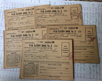 Militaria- World War II- WAR RATION Stamp Book No. 3 with Stamps- 5 Books with Original Envelope 1940's