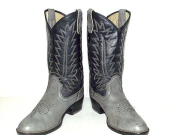ON SALE Dark blue and grey Cowboy Boots - mens size 6  / womens 7.5 - western wear - Vegan friendly